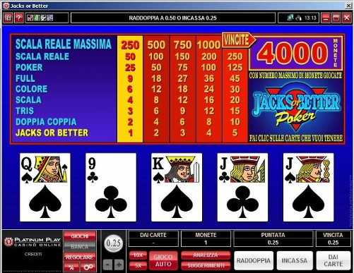 Videopoker jacks or better - Platinum Play